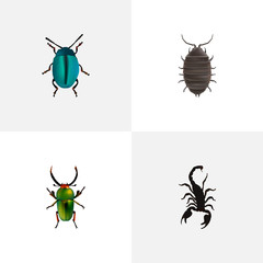 Realistic Poisonous, Insect, Bug And Other Vector Elements. Set Of Insect Realistic Symbols Also Includes Insect, Beetle, Green Objects.