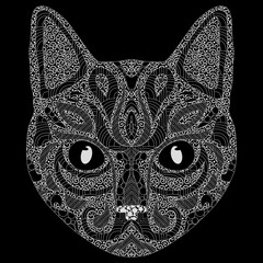 Stylized portrait of a cat. The head of a cat. Linear Art. Ornamental portrait. A pet. Mask. Tattoo. Art.