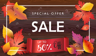 Autumn Holiday Sale banner. Autumn orange and yellow, red fall leaves frame with red ribbon on brown wood, wooden board background, Thanksgiving advertising, marketing wallpaper.