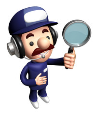 3D Engineer Mascot is holding the Magnifier.