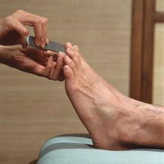 Man having a pedicure
