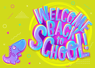Vector Illustration of Welcome Back to School Cartoon Banner. Colorful and Bright Poster for Knowledge Day.