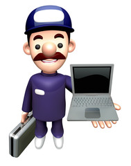 3D Repair Person Character is holding a Laptop.