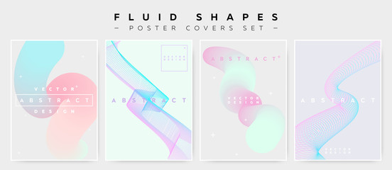 Pastel Covers Set with Abstract Fluid Waves. Modern Minimalistic Vector Illustration for Placard, Flyer, Banner, Report,Presentation. Abstract Futuristic Design with Holographic Colors and Copy Space.