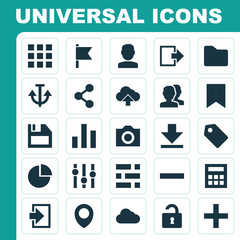 Interface Icons Set. Collection Of Floppy Disk, Map Pin, Quest And Other Elements. Also Includes Symbols Such As File, Calculator, People.