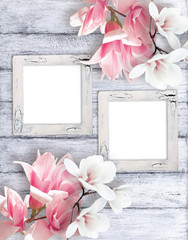 Retro photo frames with magnolia flowers