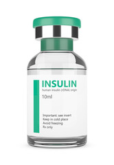 3d rendering of insulin vial over white