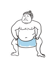 Sumo wrestler hand drawn icon isolated on white background vector illustration. Japan ethnic culture element.
