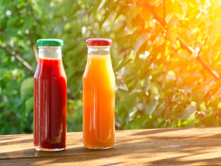 Two bottles of juice in the garden on a background of greenery, summer, sunlight