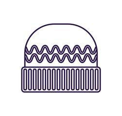 Winter woolen hat isolated vector icon. Outdoor activity, nature traveling equipment element.