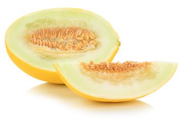 Honigmelone geschnitten tropisch frisch Früchte Frucht Obst Sommer Freisteller freigestellt isoliert