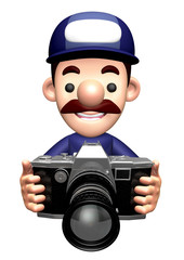 3D Specialist Character is holding a camera.