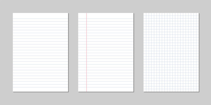 Set of realistic vector illustration of blank sheets of square and lined paper from a block isolated on a gray background