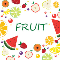 Frame with sliced fruit. Exotic fruits in cartoon style on a white background. Healthy food. Place for the text.