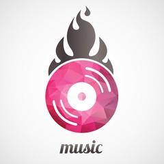 DJ Disc Jockey Music Logo Type Concept Lowpoly Geometric Design Illustration Vector