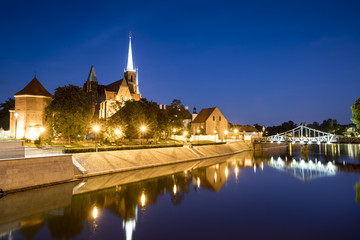 Evening photo of illuminated St. John the Baptist Cathedral in Wroclaw, Poland