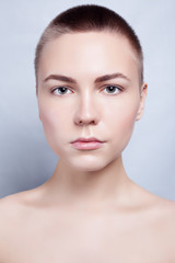 Beautiful Face Young Woman Clean Fresh Skin close up