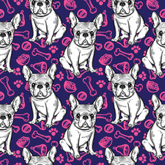 Seamless cute pattern with French bulldog. Home dog. Perfect for textiles or paper design.