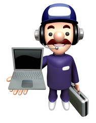 3D Specialist Mascot is holding a Laptop.