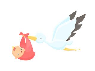 Cartoon stork carrying baby girl vector illustration