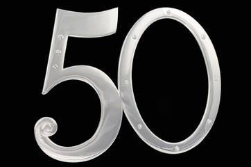 Silver photo frame birthday 50 anniversary isolation black background. gilded frame inlaid stones