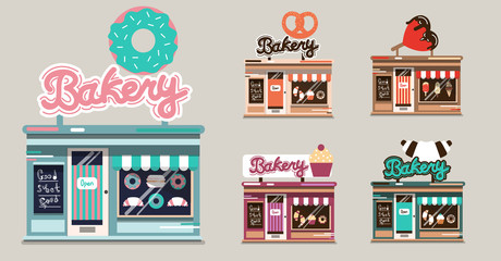Cute small vector food stores set. Shops on isolated background in flat, cartoon  style