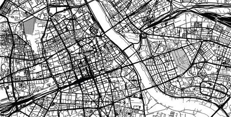 Urban city map of Warsaw, Poland