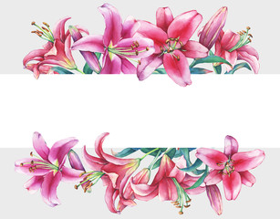 Banner with a pink lilies, isolated on gray background. Watercolor hand drawn painting illustration