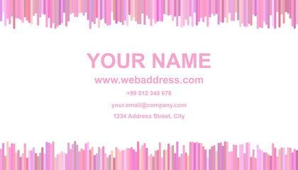 Business card template design - identity illustration with vertical stripes in pink tones on white background