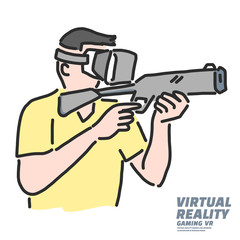 Virtual Reality gaming VR Game shooting, line drawing illustration in various poses, line drawing vector illustration graphic design