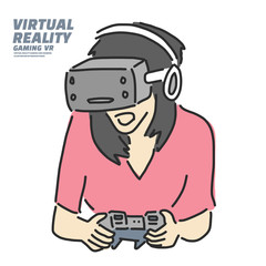 Virtual Reality gaming VR Game, line drawing illustration in various poses, line drawing vector illustration graphic design