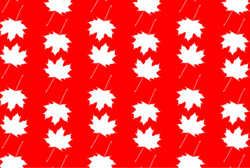 Maple leaf - vector white-red patter