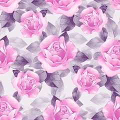 Floral seamless pattern. Watercolor background with beautiful roses