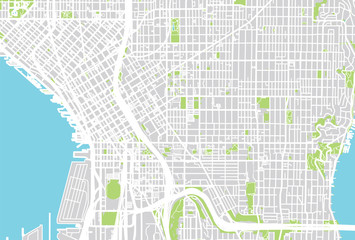 Urban city map of Seattle, Washington