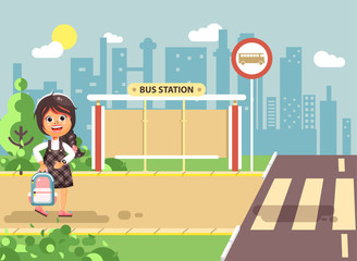 Vector illustration cartoon characters child, observance traffic rules, lonely brunette girl schoolchild, pupil go to road pedestrian crossing, on bus stop background, back to school flat style