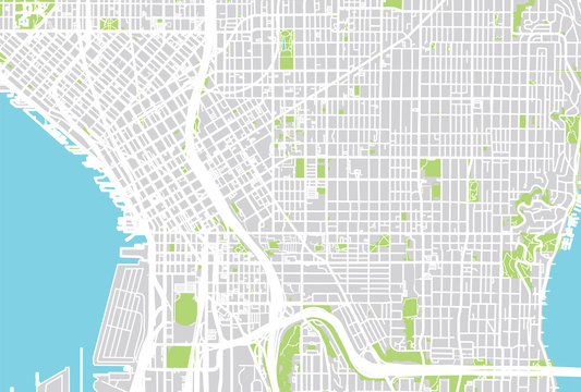 Urban city map of Seattle, Washington