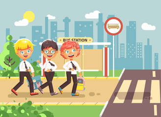 Vector illustration cartoon characters children, traffic rules, blonde, brunette, redhead boys schoolchildren, pupils go to road pedestrian crossing bus stop background back to school flat style