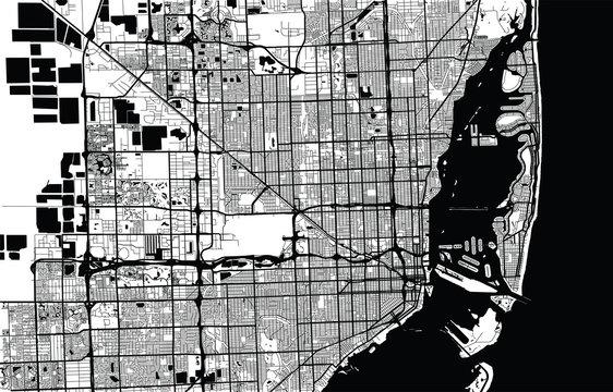 Urban city map of Miami, Florida