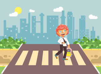 Vector illustration cartoon characters child, observance traffic rules, lonely redhead boy schoolchild, pupil go to road pedestrian crossing, on city background, back to school in flat style
