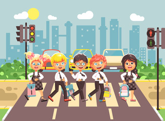 Vector illustration cartoon characters children, observance traffic rules, boys and girls schoolchildren classmates go to road pedestrian zone crossing, city background back to school flat style