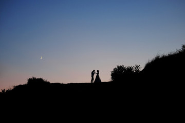 Romantic scene. Couple of lovers embracing under the Moon.