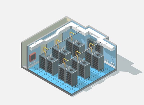 Vector isometric low poly bit coin cryptocurrency mining block chain data center cutaway icon. Computer Administration room includes server and cables