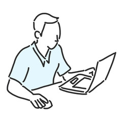 man with working on a laptop computer, checking email and searching on the internet. line drawing vector illustration graphic design