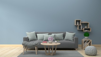 Living Room Interior with sofa and shelf on empty blue wall background. 3D rendering.