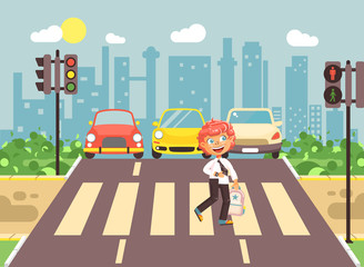 Vector illustration cartoon character child, observance traffic rules, lonely redhead boy schoolchild schoolboy go to road pedestrian zone crossing, city background back to school flat style