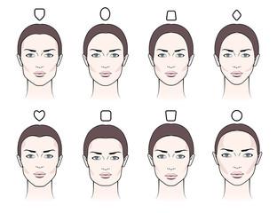 Various female faces blush contouring makeup