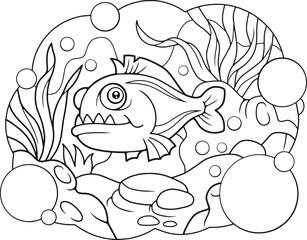 Funny cartoon piranha, coloring book