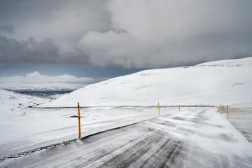 Icelandic winter road conditions