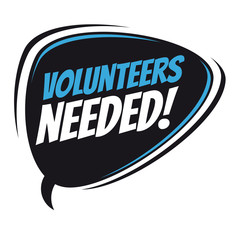 volunteers needed retro vector speech balloon
