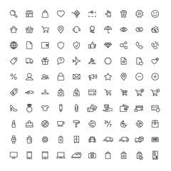 online shopping, e-commerce, universal line 100 icons set